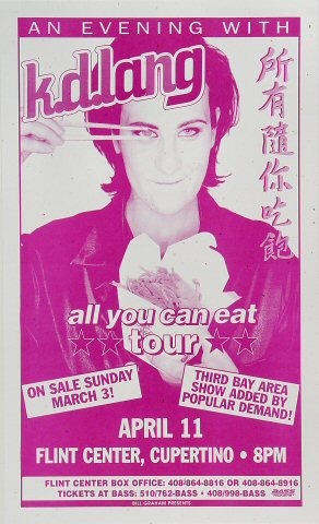 "k.d. lang Poster from Flint Center on 11 Apr 96: 8 1/2"" x 14"""