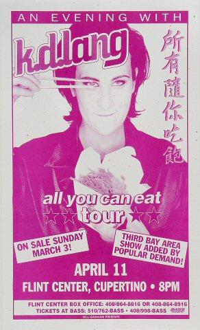 """k.d. lang Poster from Flint Center on 11 Apr 96: 8 1/2"""" x 14"""""""