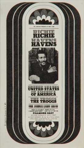 "Richie Havens Postcard from Fillmore East on 29 Mar 68: 4"" x 7"""