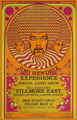 1968 Jimi Hendrix poster by David Byrd,  known as FME007.