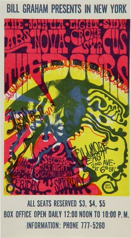 "The Doors Handbill from Fillmore East on 22 Mar 68: 4"" x 7"""