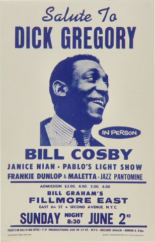 "Bill Cosby Handbill from Fillmore East on 02 Jun 68: 5 1/2"" x 8 1/2"""