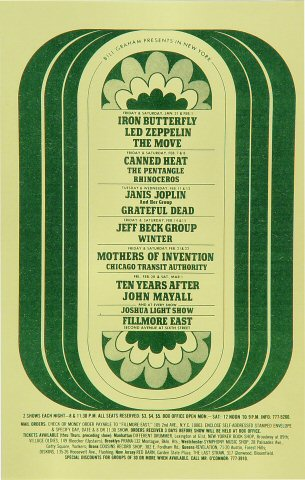 "Iron Butterfly Handbill from Fillmore East on 31 Jan 69: 5 1/2"" x 8 1/2"""