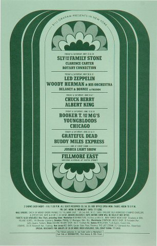 "Sly & the Family Stone Handbill from Fillmore East on 23 May 69: 5 1/2"" x 8 1/2"""