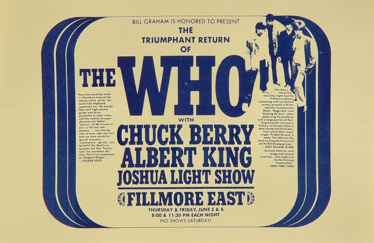 "The Who Handbill from Fillmore East on 05 Jun 69: 5 1/2"" x 8 1/2"""