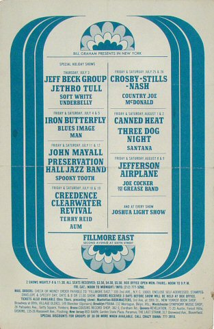 "Jeff Beck Group Handbill from Fillmore East on 03 Jul 69: 5 1/2"" x 8 1/2"""