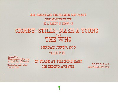 Crosby, Stills, Nash & Young 1970s Ticket from Fillmore East on 07 Jun 70: Ticket One