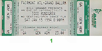 Todd Rundgren 1990s Ticket from Fairmont Hotel Grand Ballroom on 15 Jan 94: Ticket One