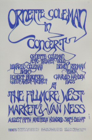 "Ornette Coleman Handbill from Fillmore West on 05 Aug 68: 4 3/4"" x 7"""