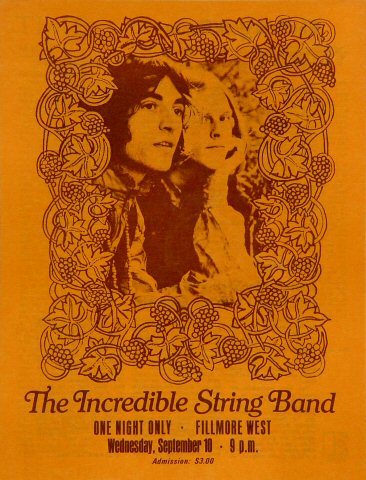"The Incredible String Band Program from Fillmore West on 10 Sep 69: 6 1/2"" x 8 1/2"""