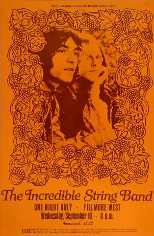 "The Incredible String Band Poster from Fillmore West on 10 Sep 69: 13 3/4"" x 21"""