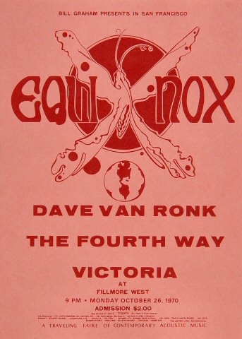 "Dave Van Ronk Handbill from Fillmore West on 26 Oct 70: 5"" x 7"""