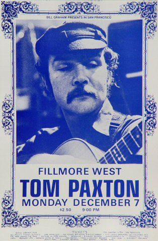 "Tom Paxton Handbill from Fillmore West on 07 Dec 70: 4 5/8"" x 7"""