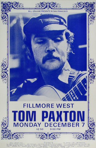 "Tom Paxton Poster from Fillmore West on 07 Dec 70: 14"" x 21 1/4"""