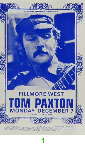Tom Paxton 1970s Ticket from Fillmore West on 07 Dec 70: Ticket One