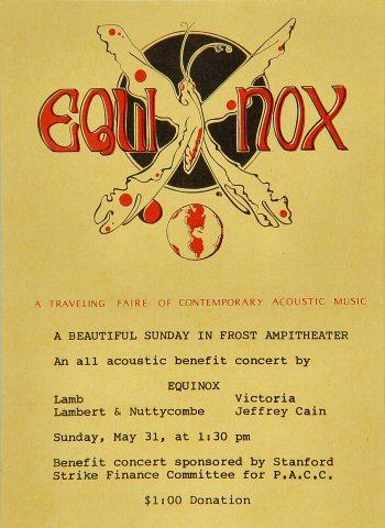 "Lamb Handbill from Frost Amphitheatre on 31 May 70: 5"" x 7"""