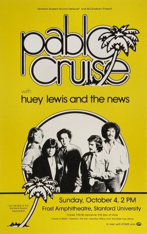 "Pablo Cruise Poster from Frost Amphitheatre on 04 Oct 81: 11"" x 17"""