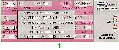Ry Cooder 1990s Ticket from French's Camp on 25 Aug 90: Ticket One