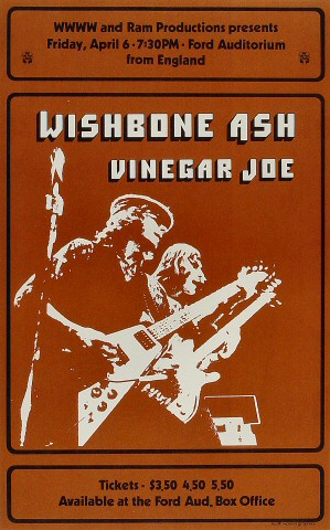 "Wishbone Ash Poster from Ford Auditorium on 06 Apr 73: 10 7/8"" x 17 1/4"""