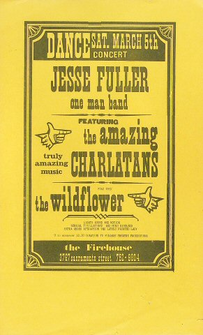 "Jesse Fuller Poster from Firehouse Theatre on 05 Mar 66: 8 1/2"" x 14"""