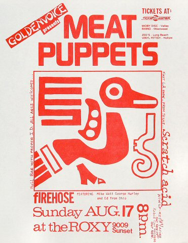 "Meat Puppets Handbill from Firehouse Theatre on 17 Aug 86: 8 1/2"" x 11"""