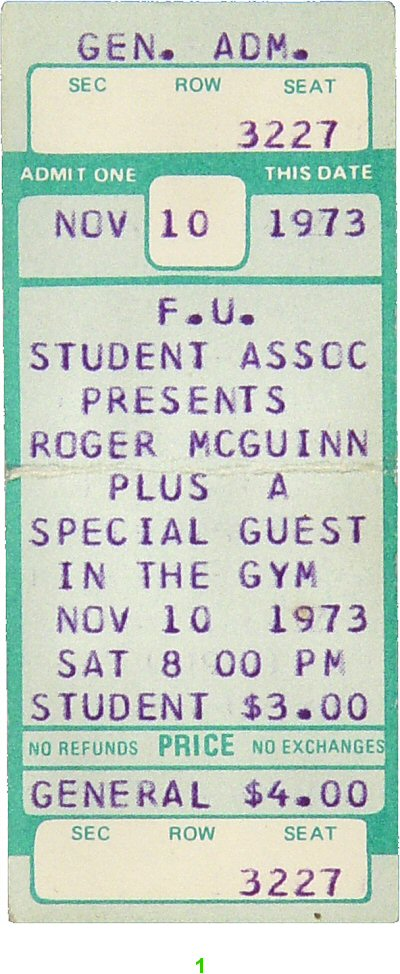 Roger McGuinn 1970s Ticket from Fairfield University on 10 Nov 73: Ticket One