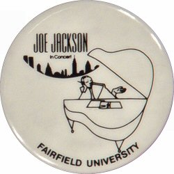 "Joe Jackson Vintage Pin from Fairfield University on 06 Sep 79: 1 1/8"" x 1 1/8"" Pin"