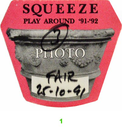 Squeeze Backstage Pass from Fairfield University on 25 Oct 91: Pass 1