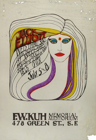 "Ramblin' Jack Elliott Poster from F. W. Kuh Memorial Auditorium on 05 Jul 67: 14"" x 20"""