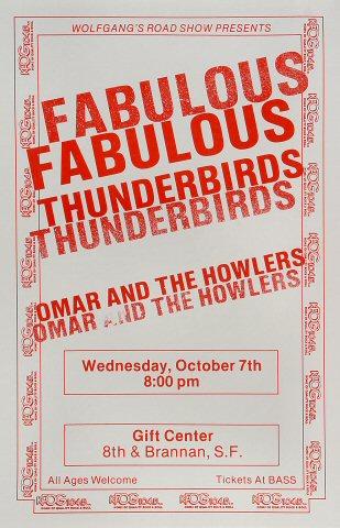 "The Fabulous Thunderbirds Poster from Gift Center on 07 Oct 87: 11"" x 17"""