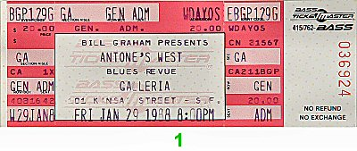 Albert Collins 1980s Ticket from Galleria on 29 Jan 88: Ticket One
