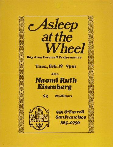 "Asleep at the Wheel Handbill from Great American Music Hall on 19 Feb 80: 8 1/2"" x 11"""