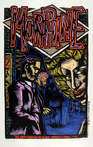 """Morphine Poster from Great American Music Hall on 31 Mar 95: 14 5/8"""" x 22 1/2"""""""
