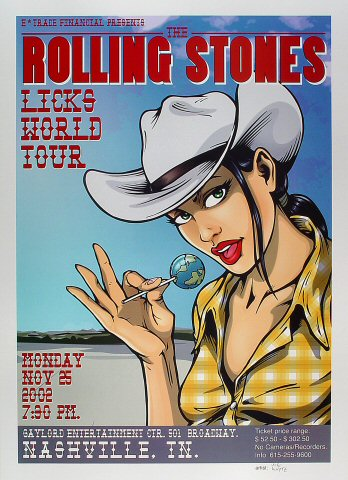 "The Rolling Stones Poster from Gaylord Entertainment Center on 25 Nov 02: 19 11/16"" x 27 1/2"""