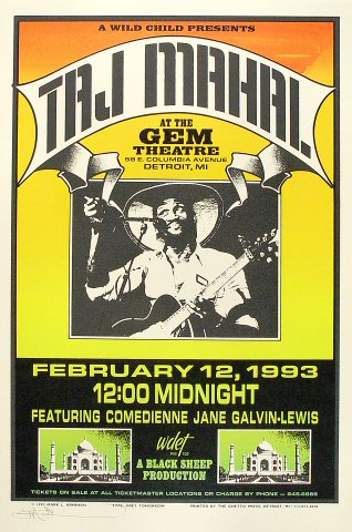 Taj Mahal Poster from Gem Theatre on 12 Feb 93: 15 1/2&quot; x 23&quot;