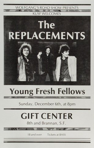 "The Replacements Poster from Gift Center on 06 Dec 87: 11"" x 17"""