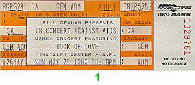 Book of Love 1980s Ticket from Gift Center on 28 May 89: Ticket One
