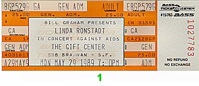 Linda Ronstadt 1980s Ticket from Gift Center on 29 May 89: Ticket One
