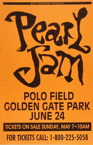 "Pearl Jam Poster from Golden Gate Park on 24 Jun 95: 11"" x 17"""