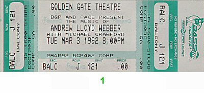 Michael Crawford 1990s Ticket from Golden Gate Theatre on 03 Mar 92: Ticket One