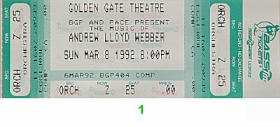 Michael Crawford 1990s Ticket from Golden Gate Theatre on 08 Mar 92: Ticket One