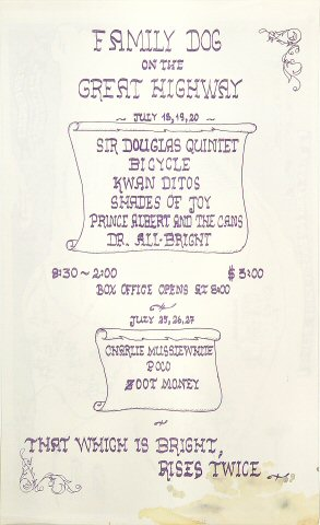 "The Sir Douglas Quintet Handbill from Great Highway on 18 Jul 69: 8 1/2"" x 14"""