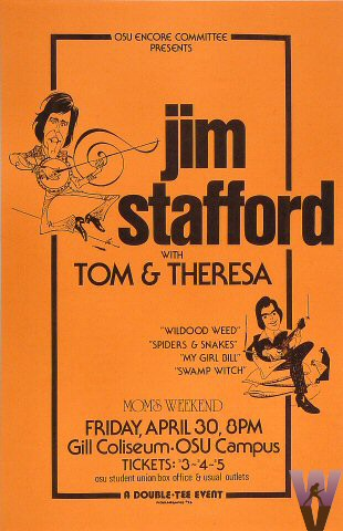 "Jim Stafford Poster from Gill Coliseum on 30 Apr 76: 11"" x 17"""