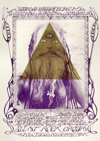 "Allen Ginsberg Poster from Polo Fields, Golden Gate Park on 14 Jan 67: 14 3/16"" x 19 15/16"""