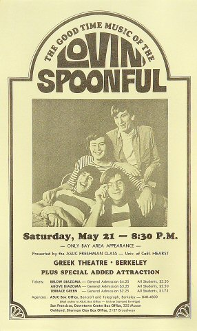 "Lovin' Spoonful Handbill from Greek Theatre on 21 May 66: 5 1/8"" x 8 1/2"""
