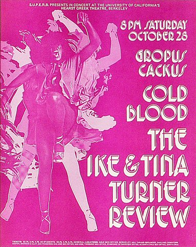 "Ike & Tina Turner Handbill from Greek Theatre on 28 Oct 72: 8 1/2"" x 10 5/8"""
