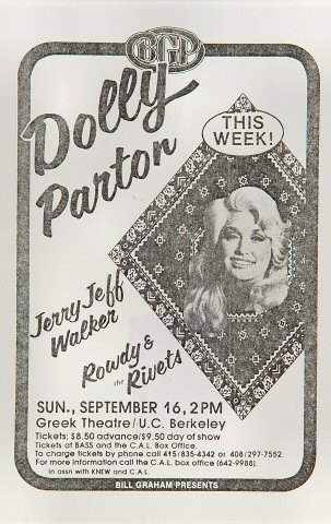 "Dolly Parton Handbill from Greek Theatre on 16 Sep 79: 5 1/2"" x 8 1/2"""
