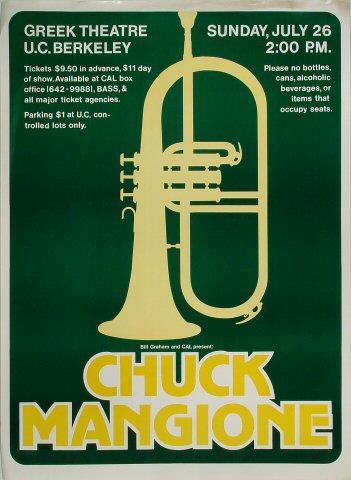 "Chuck Mangione Poster from Greek Theatre on 26 Jul 81: 16 1/2"" x 22 1/2"""