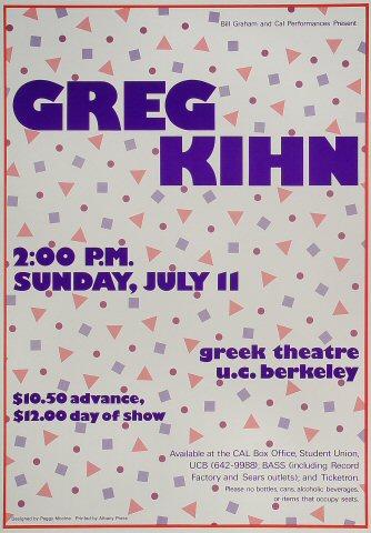 """Greg Kihn Poster from Greek Theatre on 11 Jul 82: 14"""" x 20"""""""