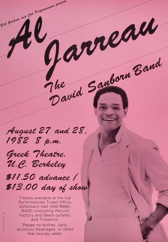 "Al Jarreau Poster from Greek Theatre on 27 Aug 82: 14"" x 20"""